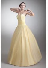 Dreamy Light Yellow Sweetheart Floor-length Quinceanera Prom Dresses