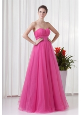 Tulle Hot Pink Ruched Long Party Dress with Sweetheart