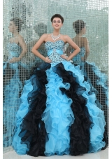 Ball Gown Beaded Multicolored Quinceanera Dress with Sweetheart Neck