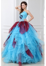 Lovely Aqua Blue Strapless Quinceanera Gowns with Rhinestones