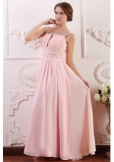 Empire Scoop Baby Pink Prom Gown with Beading and Ruching