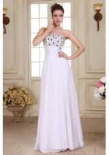 Beaded and Ruched Empire Homecoming Dresses in Floor-length