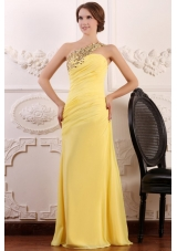 Paillettes One Shoulder Sheath Ruching Chiffon Prom Gown Dress