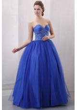 Diamonds and Ruching Blue Tulle Dress for Quince with Puffy Skirt