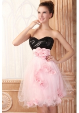 Black and Pink Flowers and Sequins Prom Dresses for Girls