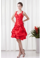 Straps Knee-length Pick Ups Taffeta Prom Dresses in Red