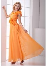Romantic Orange V-neck Ankle-length Chiffon Prom Dress for Ladies