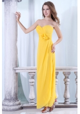 On Sale Empire Sweetheart Zipper-up Yellow Prom Dress in Chiffon