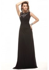 Most Popular Black Bateau Lace Beading and Ruching Prom Dresses