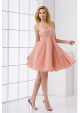 Pretty Sweetheart Beaded Mini-length Chiffon Prom Dress
