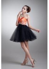 Cute Orange and Black Appliqued Sweetheart Mini-length Prom Dress