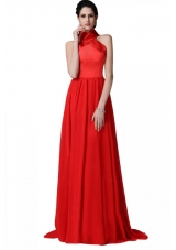2014 Most Popular Red Halter Top Chiffon Prom Dresses with Ruching