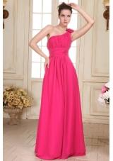 Hot Pink One Shoulder Formal Evening Dress with Hand Made Flower