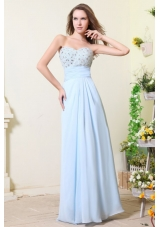 Newest Baby Blue Empire Sweetheart Chiffon Prom Dress with Stones