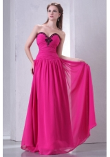 Latest Hot Pink Sweetheart Prom Gown with Beading and Ruching