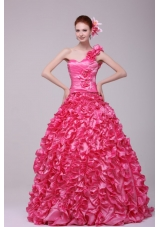 Unique One Shoulder Hot Pink Ruffled Zipper-up Quinceanera Dresses
