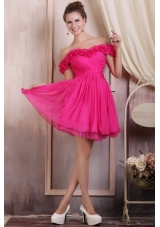 Flattering Mini-length Prom Dresses with Off The Shoulder Flowers