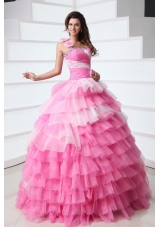 One Shoulder Tiered Quinceanera Dress with Beading and Handmade Flowers