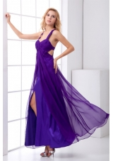 Luxurious Ruching Purple Ankle-length Prom Dresses with Criss Cross