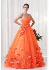 Orange Strapless Quinceanera Dress with Hand Made Flowers