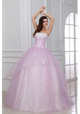 Appliqued Sweet 15th Dress in White and Baby Pink with Strapless Neck