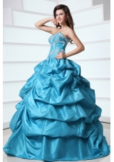 Floral Appliques and Pick Ups Aqua Blue Taffeta Sweet 16 Dresses
