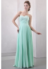 Beading and Pleating Empire Apple Green Prom Dress for Women