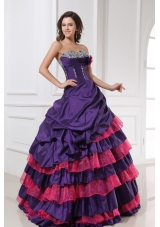Eggplant Purple Ball Gown Sweetheart Beaded and Tiered Sweet-15 Dresses