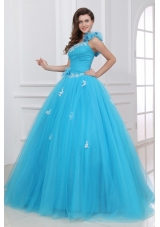 Applies Ruche and Ruffles Tulle Quinceanera Party Dresses in Blue