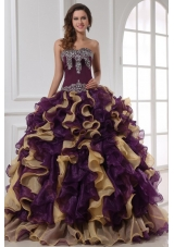 Multi-color Sweetheart Appliqued Sweet 16 Dresses with Ruffles ...