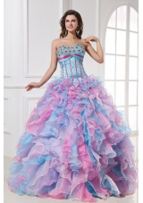 Colorful Ruffles and Sequins Organza Quinceanera Party Dresses
