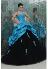 Sassy Aqua Blue and Black Pick Ups and Appliques Sweet 16 Dress