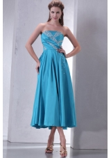 Aqua Blue Empire Strapless Tea-length Prom Gown with Beading