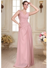 Empire Ruched Chiffon Evening Dress in Pink with V-neck Straps