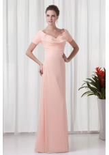Floor-length V-neck Baby Pink Prom Dress with Short Sleeves