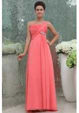 Best Seller One Shoulder Watermelon Prom Dress with Ruche and Beading