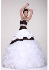 White and Brown Organza and Taffeta Ruffled Sweet 16 Dresses