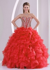Wine Red Sweetheart Ruffles Beading Quinceanera Dress