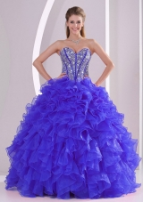 Recommand Sweetheart Ruffles and Beaded Decorate Blue Quinceanera Gowns