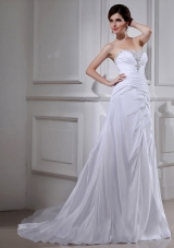 Elegant Pincess Strapless Chiffon Court Train 2014 Wedding Dress with Beading