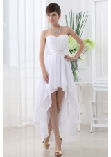 Beading Empire Sweetheart Ruching Belt White Wedding Dress with High-low
