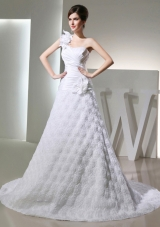 Popular Princses One Shoulder Ruching Fabric With Rolling Flower Wedding  Dress