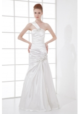 Simple Column One Shoulder Taffeta Ruching Beading White Wedding Dress