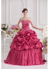 2014 Spring Ball Gown Sweetheart Hand Made Flowers Beading Pick-ups Quinceanera Dress in Red