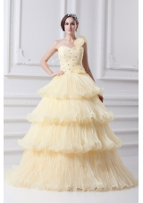 Beautiful A-line One Shoulder Beading and Ruffled Layers Quinceanera Dress in Light Yellow