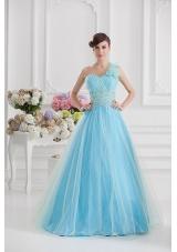 Beautiful A-line One Shoulder Ruching and Beading Aqua Blue Quinceanera Dress