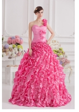 Hot Pink Ball Gown One Shoulder Taffeta Hand Made Flowers and Ruffles Quinceanera Dress