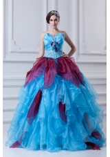 2014 Discount Ball Gown Strapless Beading Ruffles and Appliques Multi-Color Quinceanera Dress