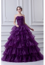 2014 Eggplant Purple Strapless Ball Gown Beading and Embroidery Quinceanera Dress
