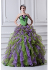Ball Gown Strapless Multi-color Quinceanera Dress with Ruffles and Appliques